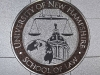 waterjet stone & metal medallion, UNH School of Law