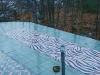 waterjet cut porcelain mosaic, zebra patio